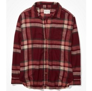 American Eagle Red White Plaid Flannel Tunic Shirt